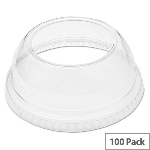 Solo Domed 9-22oz Plastic Cup Lids with Wide Hole Clear Pack 100