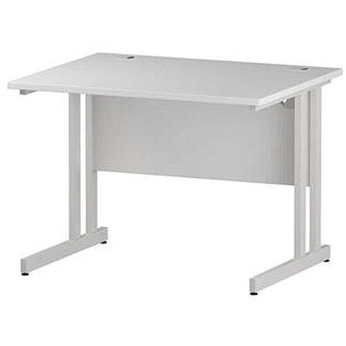 Rectangular Double Cantilever White Leg Office Desk White W1000xD800mm