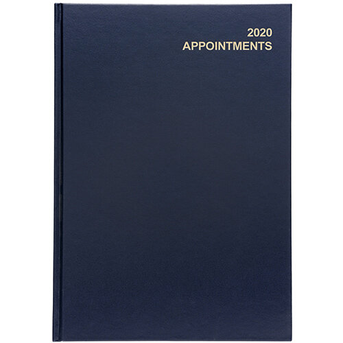 5 Star Office 2020 Appointment Diary Day to Page Casebound and Sewn Vinyl Coated Board A4 297x210mm Blue
