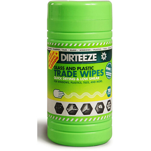 Dirteeze Glass &Plastic Trade Wipes Dispenser Tub 200x250mm Ref DZGP80 [80 Wipes]