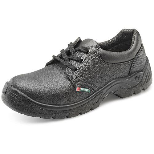 Click Footwear Double Density Economy Work Shoes S1 PU/Leather Size 4 (37) Black - Steel Toe Cap, Shock Absorber Heel, Anti-static, Oil Resistant Sole, Slip Resistant Ref CDDS04