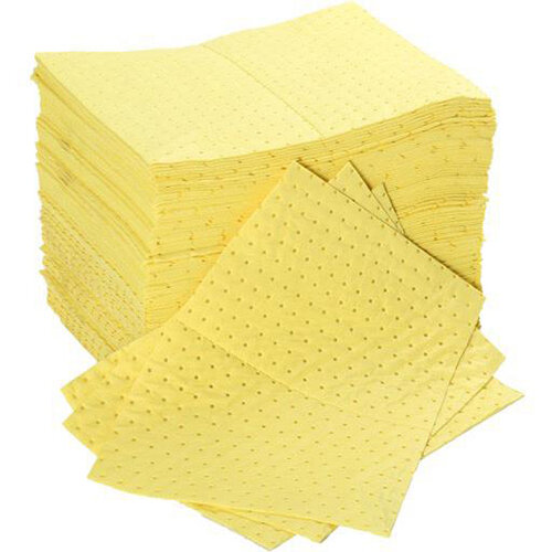 Fentex 40 x 50cm Chemical Absorbent Pads 85 Litres Bonded Perforated Poly Wrapped Yellow Pack 100 Ref CB100M
