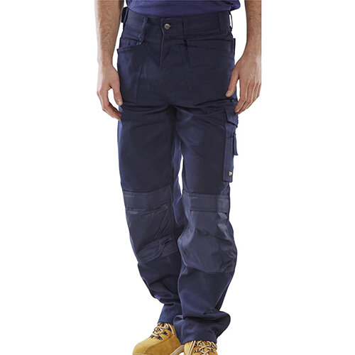 Click Premium Work Trousers With Multipurpose Holster Pockets 46 inch Waist with Regular Leg Navy Blue Ref CPMPTN46