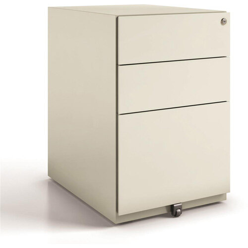Tall Mobile Steel Pedestal Under Desk 3 Drawer Goose Grey