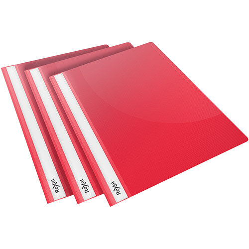 Rexel Choices Report Folder Clear Front Capacity 160 Sheets A4 Red Ref 2115642 Pack of 25