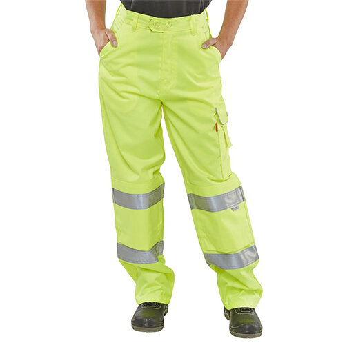 B-Seen Teflon EN20471 High Visibility Ladies Safety Trousers 26 inch Waist with Regular Leg Size 8 Saturn Yellow Ref LPCTENSY26