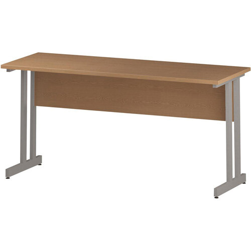 Rectangular Double Cantilever Silver Leg Slimline Office Desk Oak W1600xD600mm