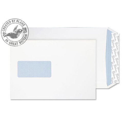 Blake Premium Office C5 120g/m2 Woven Peel and Seal Window Pocket Envelopes Ultra White Pack of 500 Ref 4031069