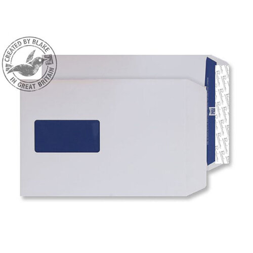 Blake Premium Pure C5 120g/m2 Woven Peel and Seal Window Pocket Envelopes Super White Pack of 500 Ref 4030915