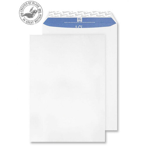 Blake Premium Pure C4 Peel and Seal 324mm x 229mm 120g/m2 Wove Pocket Envelopes Super White Pack of 250 Ref 4030927