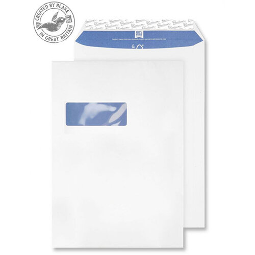 Blake Premium Pure C4 120g/m2 Woven Peel and Seal Window Pocket Envelopes Super White Pack of 250 Ref 4030936