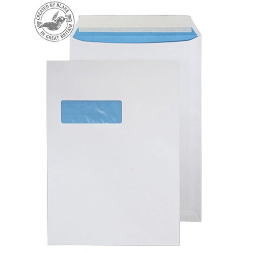 Blake Purely Everyday C4 Peel and Seal 324mm x 229mm 110g/m2 Pocket High Window Envelopes White Pack of 250 Ref 4031151