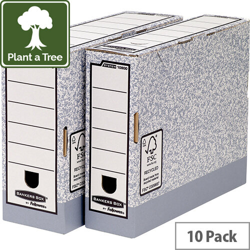 Fellowes Bankers Box Transfer File 80mm Grey/White Ref 1180001 Pack of 10