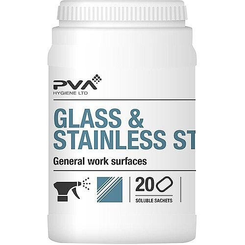 PVA Glass &Stainless Steel Dissolving Cleaner Sachets Citrus [Pack 20] Ref 4018018