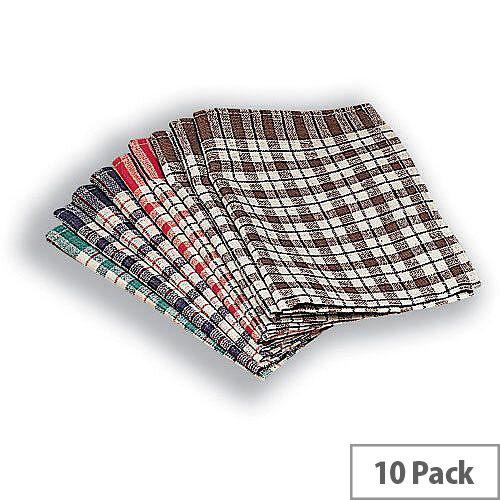 Assorted Colours Check Design Cotton Tea Towels 430x680mm 10 Pack KRSRY0311