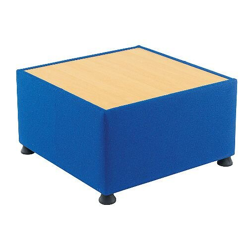 Glacier Reception Coffee Table With Wooden Top &Fabric Upholstered Sides Blue