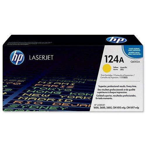 HP 124A Yellow Original LaserJet Toner Cartridge Q6002A