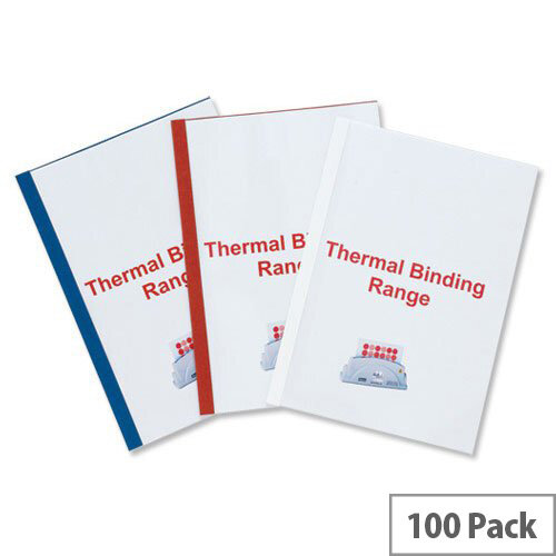 GBC Thermal Binding Covers 1.5mm Front PVC Clear Back Gloss A4 White Pack 100