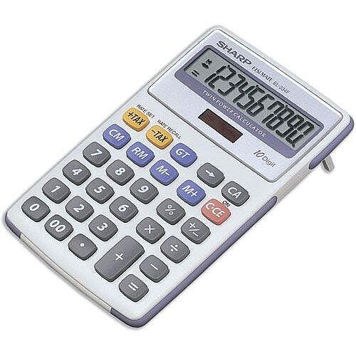 Sharp Desktop Calculator Tax  Battery/Solar-power EL334FB
