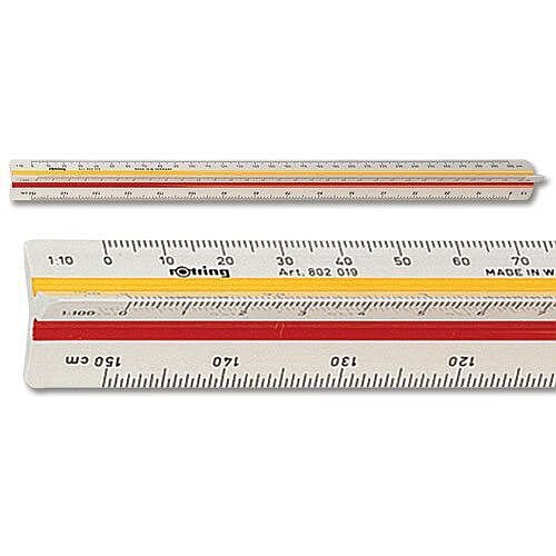 Rotring Ruler Triangular Reduction Scale 4 Architect 1-10 to 1-500 - Off White Dimensionally Stable Plastic Ruler