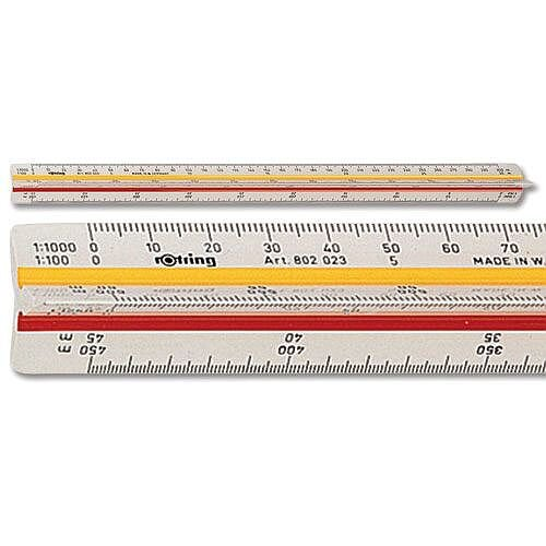 Rotring Ruler Triangular Reduction Scale 6 Surveying 1-25 to 1-2500 2 Coloured Flutings