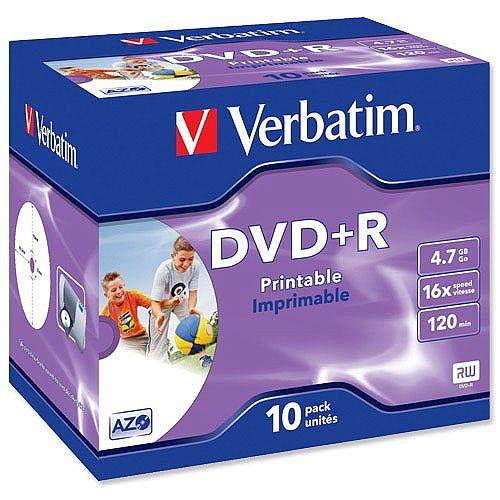Verbatim DVD+R Recordable Disk Inkjet Printable Pack 10