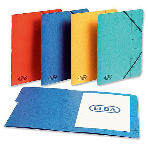 Elba Elasticated Folder 7 Part Foolscap Yellow Pack 5
