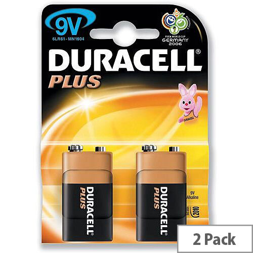 Duracell Plus Power 9V Alkaline Battery Pack Of 2 - Suitable For Use With Low-Mid Level Electronics