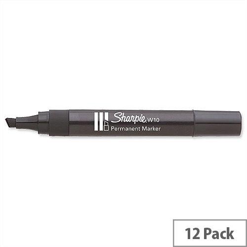 Paper Mate W10 Black Permanent Marker Chisel Tip Pack 12