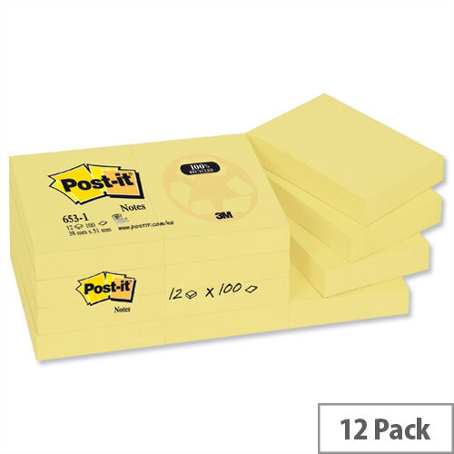 Post-it Recycled Notes 38x51mm Canary Yellow Pad of 100 Pack 12