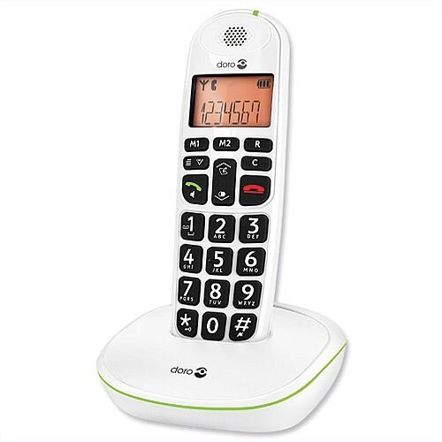 Doro PhoneEasy 100w Telephone Single Cordless Big Buttons Suitable For Use With Hearing Aids. Call Range Of 300m Outdoors. Ideal For Homes, Offices &More.