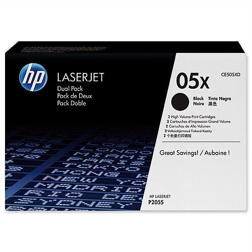 HP 05X Black High Yield Laser Toner Twin Pack CE505XD