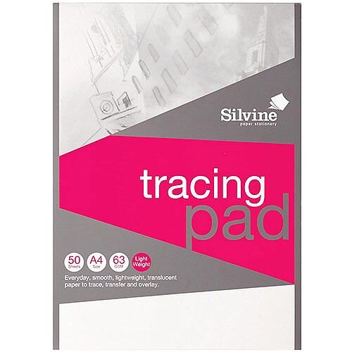 Silvine  A4  Popular Tracing Pad Acid Free Paper 63gsm  50 Sheets