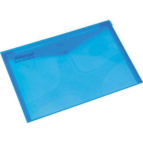 Rexel Carry Folder A4 Plastic Transparent Blue Pack 5