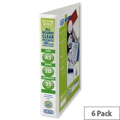 Elba Presentation A5 Ring Binder 25mm Capacity White 2 D-Ring 570350 Pack 6