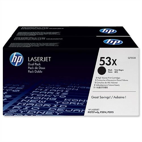 HP 53XD Laserjet Black Toner Cartridges Q7553XD Pack 2
