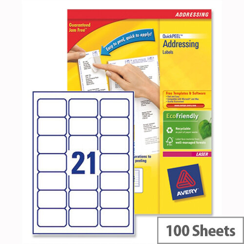 Avery L7160-100 Address Labels 21 per Sheet 63.5x38.1mm 2100 Laser & Inkjet Labels