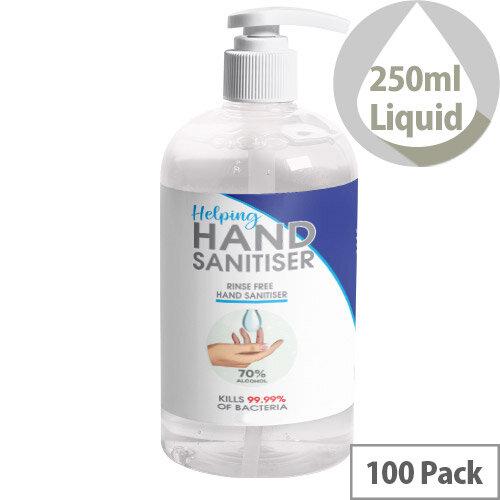 250ml Pump Hand Sanitiser - 70% Alcohol Based Hand Sanitising Liquid Pack of 100