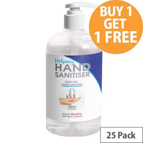 250ml Pump Hand Sanitiser - 70% Alcohol Based Hand Sanitising Liquid Pack of 25