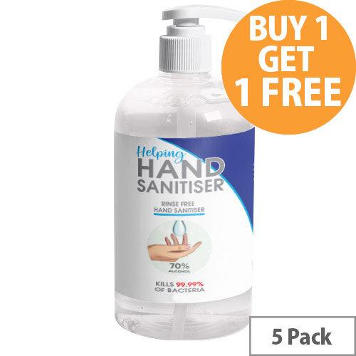 250ml Pump Hand Sanitiser - 70% Alcohol Based Hand Sanitising Liquid Pack of 5