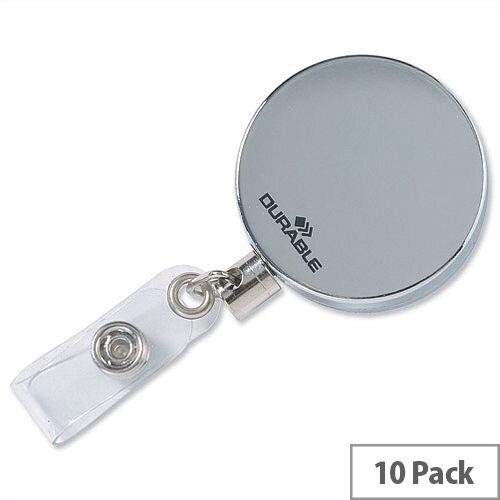 Durable Chrome Badge Reel 8225/23 Pack 10