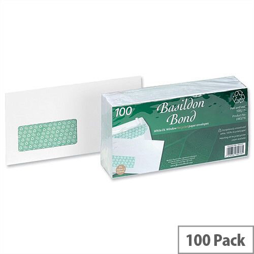 Basildon Bond DL Window Envelopes Peel and Seal White 100gsm Pack of 100
