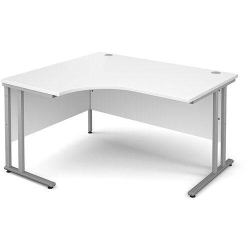 Maestro 25 SL left hand ergonomic desk 1400mm - silver cantilever frame, white top