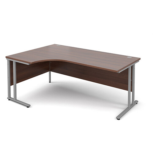 Maestro 25 SL left hand ergonomic desk 1800mm - silver cantilever frame, walnut top