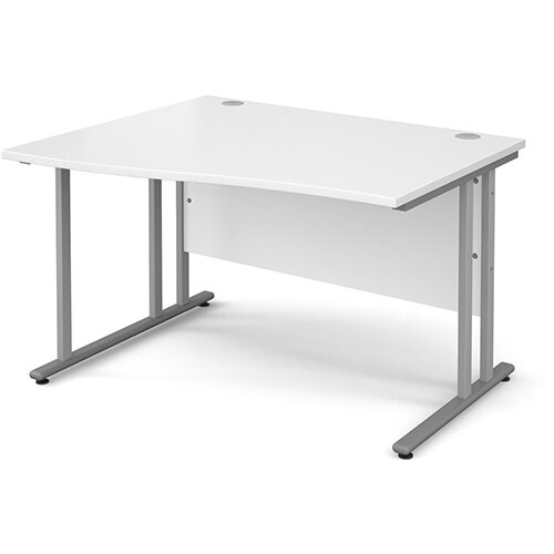 Maestro 25 SL left hand wave desk 1200mm - silver cantilever frame, white top