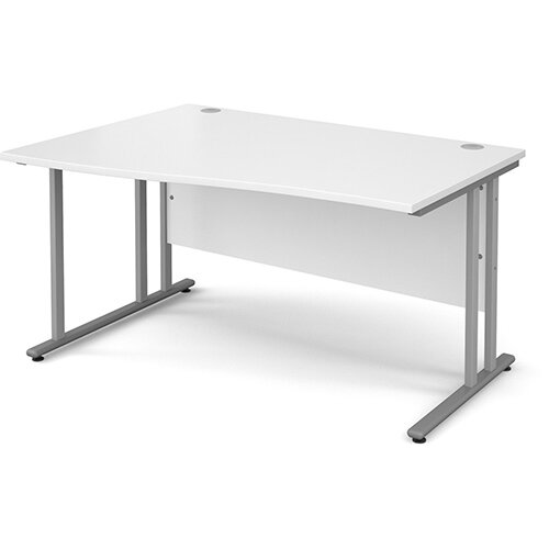 Maestro 25 SL left hand wave desk 1400mm - silver cantilever frame, white top