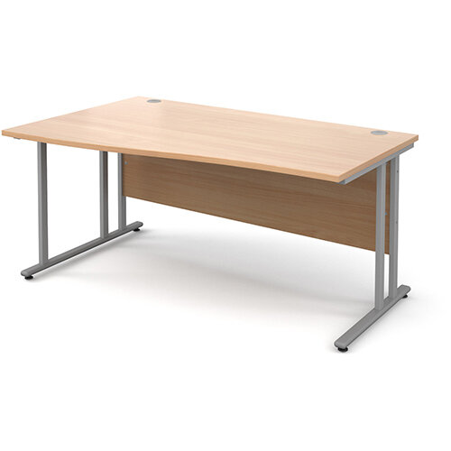 Maestro 25 SL left hand wave desk 1600mm - silver cantilever frame, beech top