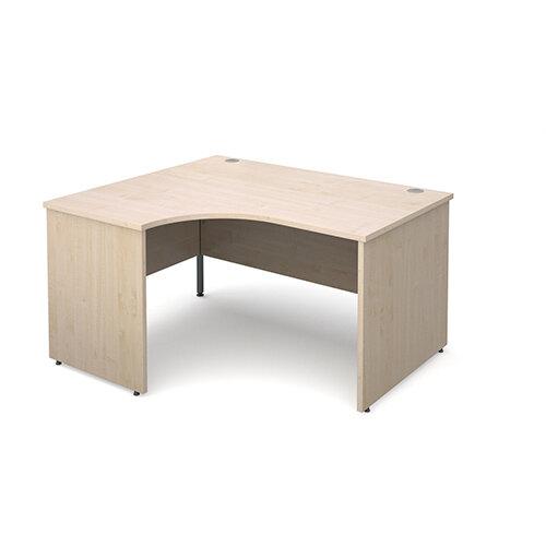 Maestro 25 PL left hand ergonomic desk 1400mm - maple panel leg design