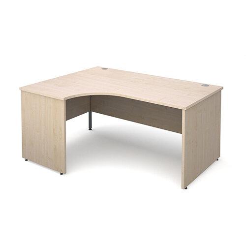 Maestro 25 PL left hand ergonomic desk 1600mm - maple panel leg design
