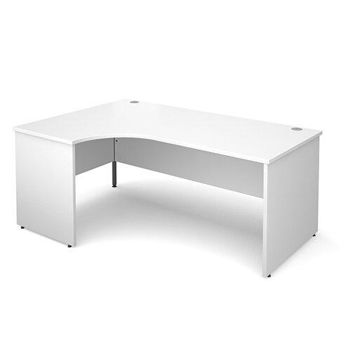Maestro 25 PL left hand ergonomic desk 1800mm - white panel leg design